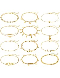 12Pcs Anklets for Women Silver Gold Ankle Bracelets Set Boho Layered Beach Adjustable Chain Anklet Foot Jewelry
