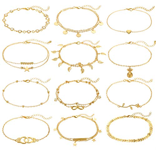 - Anlsen 12Pcs Anklets for Women Girls Silver Gold Ankle Bracelets Set Boho Layered Beach Adjustable Chain Anklet Foot Jewelry