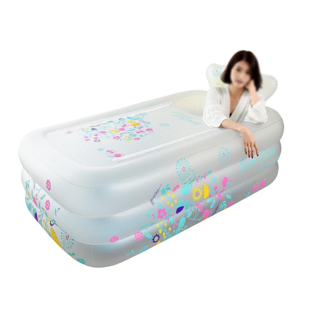 LUYIASI- Oversized Inflatable Bathtub Adult Bath Tub Home Thicken Plastic Folding Bath Tub Insulation(Size  160x90x52cm, color  White) bathtub