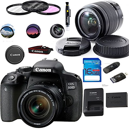 Canon EOS 800D/Rebel T7i Digital SLR Camera with 18-55 IS STM Lens Black – Deal-Expo Essential Accessories Bundle