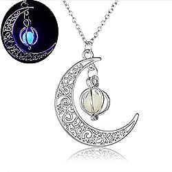 Aniywn Night Light Moon Pumpkin Pendant Halloween Collarbone Chain Color Necklace (Purple)