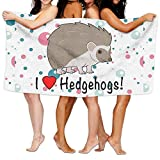 Dianqusha I Love Hedgehogs Women's Adjustable Microfiber Plush Spa Bath Shower Wrap For College Dorms, Pools, Gyms, Beaches, Locker Rooms, Bathroom