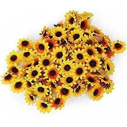 SEADEAR 100 Pcs Diameter 3.5cm Artificial Flower Petals Sunflower For Home Decoration Wedding Decor with Stylus(Yellow)#2