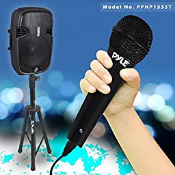 Pyle PPHP155ST Powered Bluetooth PA Active Loudspeaker with Microphone - 15 Inch Stage Bass Subwoofer Built-in USB for MP3 Amplifier - DJ Portable Sound Stereo Amp Sub for Concert Audio or Band Music
