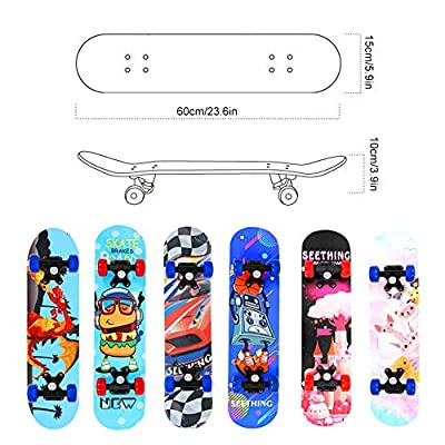 Lesgos Standard Skateboards for Beginners, 22inch Complete Skateboards with 9-Ply Maple Construction for for Kids Boys Youths Beginners : Sports & Outdoors