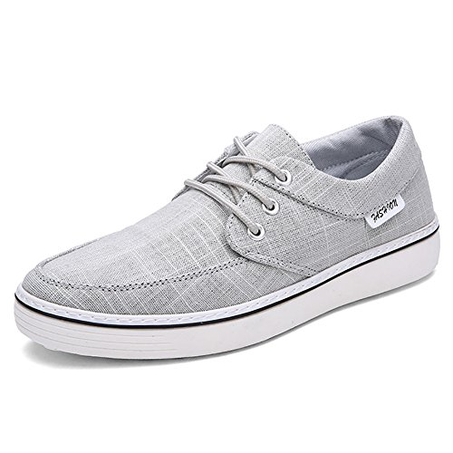 Odema Mens Canvas Shoes Lowtop Lace Up Casual Fashion Sneakers Gray 3UW24x