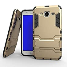 J7 Case, Lantier [Tire Design Skin] 2 In 1 Combo Rugged Dual Layer [Heavy Duty Case] Detachable Hybrid Slip Robot Impact Advanced Armor Soft Silicone Cover Hard Snap On Case for Samsung Galaxy J7 with Kickstand Tuff Symbiosis Anti-Scratch, Anti-Slip Protection with Stylus Pen Gold