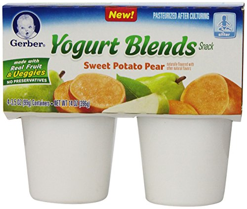 Gerber Yogurt Blends Snack, Sweet Potato Pear, 4 Count (Pack of 6)