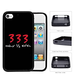 333 I'm Only Half Evil Rubber Silicone TPU Cell Phone Case Apple iPhone 4 4s