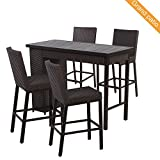 Grand patio 5 PCS Outdoor Wicker Bar Set, Weather-Resistant Patio Bar Set with Outdoor Rattan Bar Table & 4 Bar stools, Brown