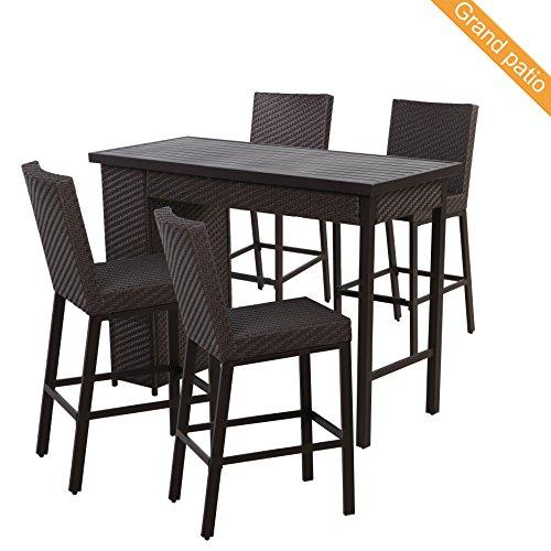 Grand patio 5 PCS Outdoor Wicker Bar Set, Weather-Resistant Patio Bar Set with Outdoor Rattan Bar Table & 4 Bar stools, Brown - Rattan Round Bar Stool