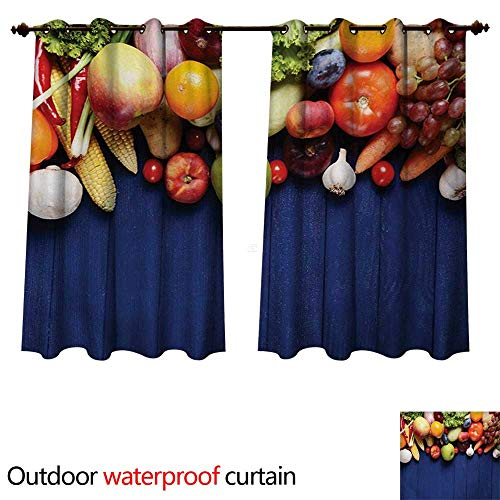 WilliamsDecor Harvest Outdoor Ultraviolet Protective Curtains Fresh Organic Fruits and Vegetables on Blue Wooden Table Natural Vegan Options W108 x L72(274cm x 183cm)