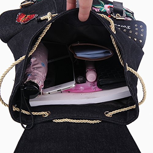Mochila de las mujeres de lona Flip Leisure School Bolsas Mochilas para las niñas de colegio bolso Black