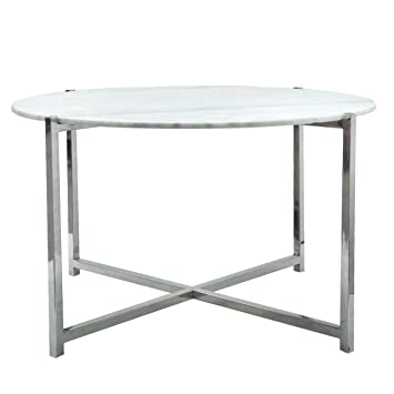 Marble And Silver Coffee Table.Big Living Coffee Table Silver And White Marble Top Amazon Co Uk
