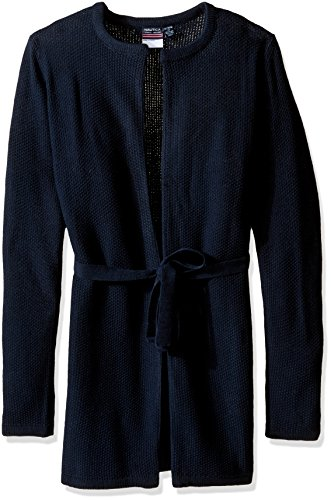 Nautica Girls' Big Girls' Uniform Seed Stitch Duster Cardigan, Navy, XL 16