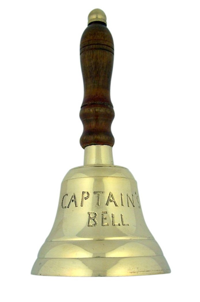High Polished Brass Service Captain's Bell with Wood Handle, 3 1/4 Inch (Dia)