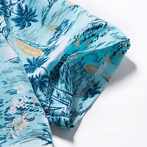 NUWFOR Men Hawaiian Print Short T-Shirt Sports Beach Quick Dry Blouse Top Blouse(Blue,XL US Chest:45.3'' by NUWFOR (Image #3)