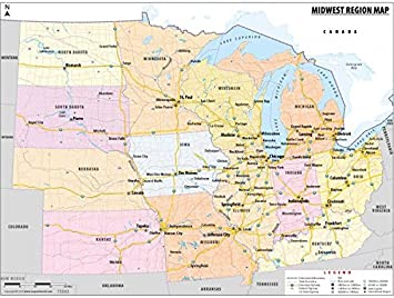 midwest united states map Amazon.: Map of Midwestern United States (48