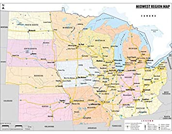 Amazon.com : Map of Midwestern United States (48\