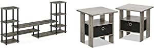 FURINNO Turn-N-Tube Grand Entertainment Center, French Oak Grey/Black & Andrey End Table Nightstand Set, 2-Pack, French Oak Grey