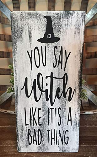 PotteLove Wood Sign Witch Farmhouse Home Decor Office Fall Halloween Rustic Funny Welcome]()