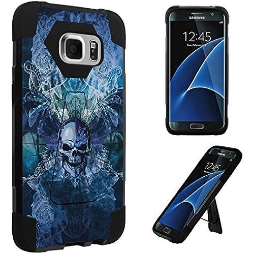 Galaxy S7 Edge Case, DuroCase  Transforma Kickstand Bumper Case for Samsung Galaxy S7 Edge SM-G935 (Released in 2016) - (Skull Wings Blue) Sales