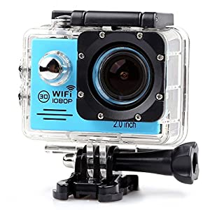 YOEMELY 1080P Waterproof Sports Action Camera Wifi 2.0 Inch LPS-TFT LCD Display 170 Degree Wide Angle Lens for Underwater Photography (BLUE) by YOCI Technology