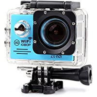 YOEMELY 1080P Waterproof Sports Action Camera 2.0 Inch LPS-TFT LCD Display 170 Degree Wide Angle Lens for Underwater Photography (BLUE)