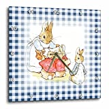 "3D Rose Image of Peter Rabbit Scene Checks Wall Clock, 10"" x 10"", Blue"