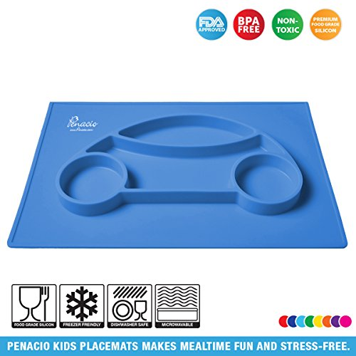 Premium Silicone Car Shaped Placement Mats By Penacio - Mealtime Placemats Suitable For Babies & Toddlers - Antibacterial & Easy To Clean Food Grade Silicone - BPA Free & FDA Approved (Blue)