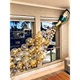 """Champagne Bottle Balloons & Confetti Balloons & Latex Balloons 50PCS, 12"""" Party Balloons Garland with Ribbon for Party Decorations, Christmas Eve, Bridal Hen/Bachelor Party Baby Shower Happy Birthday Wedding Celebration"""