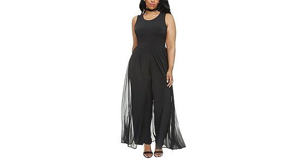 489b0adf96253 Pink Queen Women s Fashion Crewneck Black Chiffon Overlay Jumpsuit XL Black