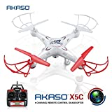 AKASO X5C 4CH 2.4GHz 6-Axis RC Quadcopter Gyro Headless with HD Camera, 360-degree 3D Rolling Mode 2 RTF RC Drone ( Bonus MicroSD card & Blades Propellers included )