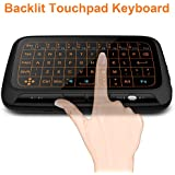 Mitid Backlit Mini Wireless Keyboard With Touchpad Mouse Updated Full Screen Touchpad Keyboard Mouse Combo for Computer, TV Boxes, IPTV, Smart TV