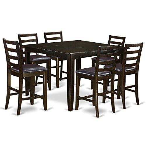 (East West Furniture FAIR7-CAP-LC 7-Piece Pub Table Set, Faux Leather Seat Cappuccino Finish)