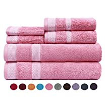 Casa Copenhagen Solitaire Cotton 17.70 oz/yd² thick 6 pieces Bath, Hand & Washcloth/Face Towels Set - Flamingo Pink