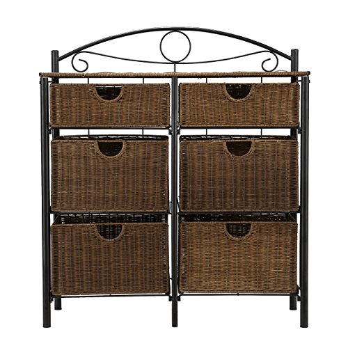 Iron/Wicker Storage Chest - 6 Baskets w/ Wrought Iron Frame - Elegant Details (Drawers Small Wicker)