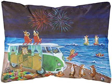 Caroline s Treasures 7317PW1216 Corgi Beach Party Volkswagon Bus Fireworks Fabric Decorative Pillow, 12H x16W, Multicolor