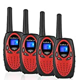 Bobela Kids walkie talkies 4 Pack, Funny and Novelty Birthday Gifts for 3,4,5,6,7,8,9,10,11 Years Old Boy and Girls,Easter Gift, Simple Button and Easy to Use in Football Party(M880 Red)