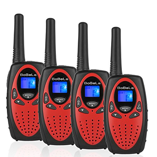 Bobela Kids walkie talkies 4 Pack, Funny and Novelty Birthday Gifts for 3,4,5,6,7,8,9,10,11 Years Old Boy and Girls,Easter Gift, Simple Button and Easy to Use in Football Party(M880 Red) -
