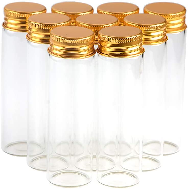 50ml Empty Seal Jars Glass Bottle with Aluminium Gold Color Screw Cap Sealed Liquid Food Gift Container 12units (12, 50ML-Gold-Cap)