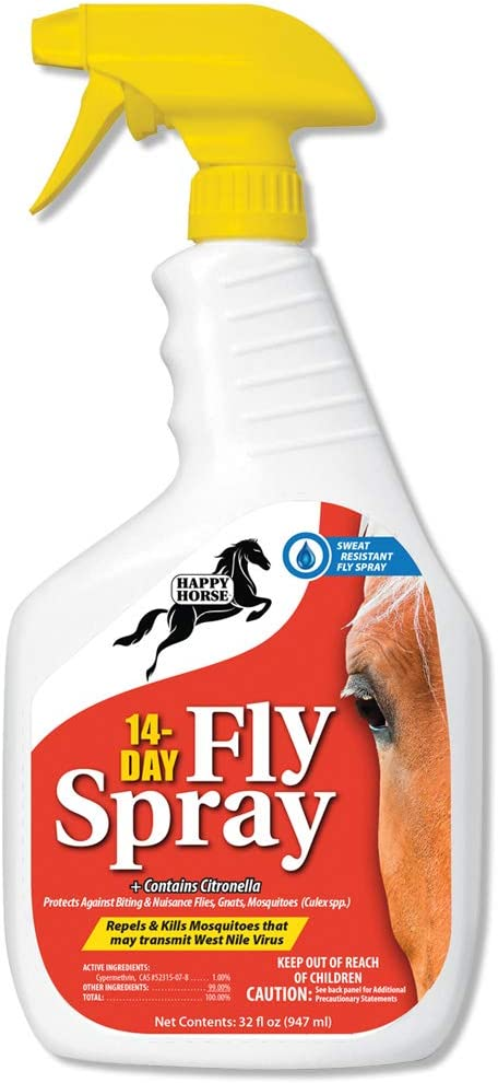 Amazon Com Harris Happy Horse 14 Day Fly Spray Sweat And Weather Resistant Long Lasting Fly Spray 32oz Pet Supplies