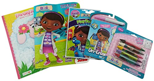 Disney Doc McStuffins Bundle- 5 Items: Super Fun Book to Color with Stickers, Favorite Book to Color, Play Pack, Dri-Erase Destination Fun and 5 Jumbo Double-Sided Crayons.