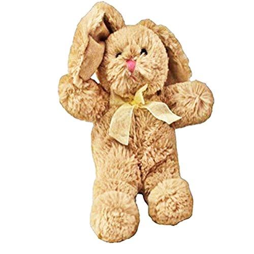 Animal Adventure Super Soft Plush Fuzzy Solid Bunny W Matching Ribbon Beige