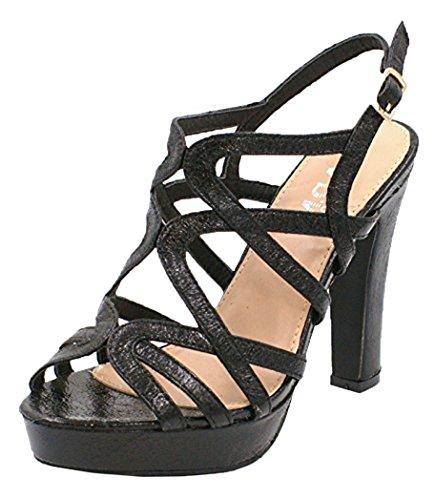 SHU CRAZY Womens Ladies Metallic High Heel Sling Back Buckle Strap Open Toe Platform Fashion Party Evening Sandals Shoes - D90 Black voNfuawegY