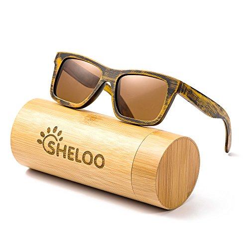Polarized Sunglasses Hand-made From Bamboo Frame 100% UV400 - Wayfarer Bamboo