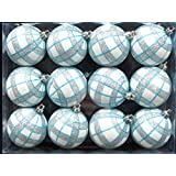 Queens of Christmas WL-ORN-12PK-PLD-AQ 12 Pack Ball Ornament with Aqua and Silver Plaid Design, White