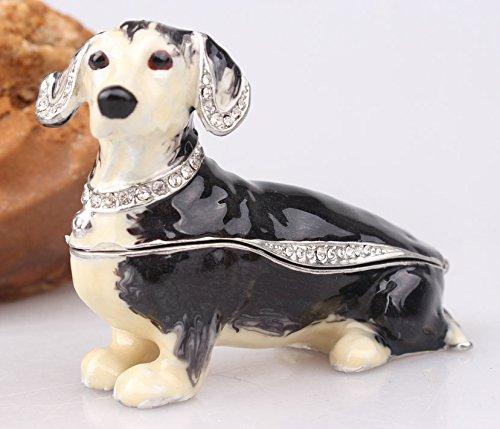 (Dachshund Dog Bejeweled Trinket Box Dachshund Dog Figurine Czech Cyrstal Jeweled Hinged Trinket Box (Black) )