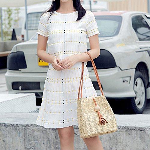 Elegante de Moda Borlas Madera Crossbody Borlas Hombro Bolso Gran Bolsa A Capacidad Hombro de Tejido Logobeing Nueva de y BTq44w