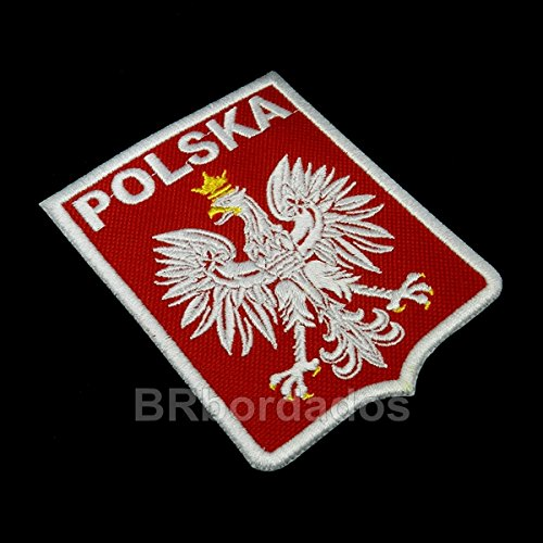 TIPL004 POLSKA Shield Football Soccer Coat of Arms War Embroidered Patch Iron or Sew - Soccer Ball Embroidered Iron